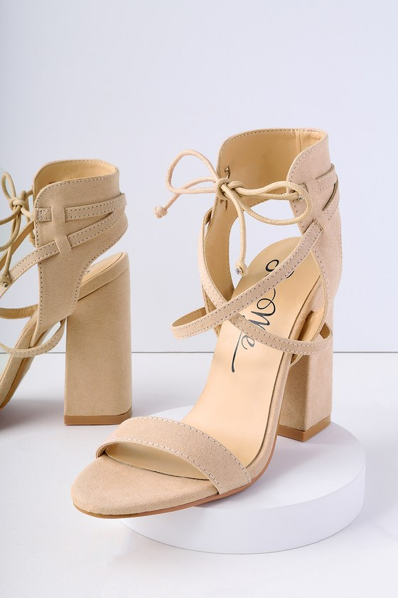 Share A Smile Nude Suede Lace Up Heels by Lulu's