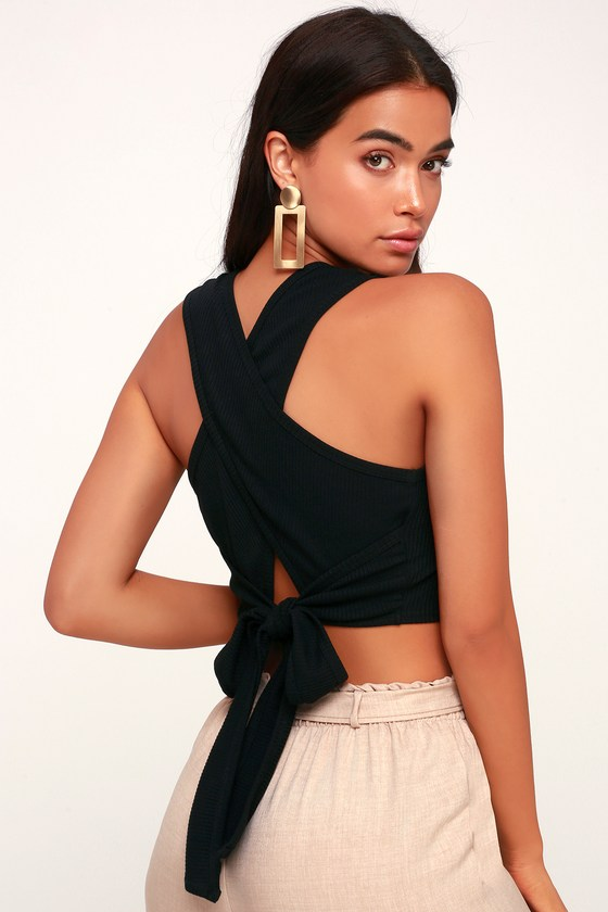 c9fbae11c34 Cool Black Top - Black Crop Top - Wrap Top - Ribbed Tie-Front Top