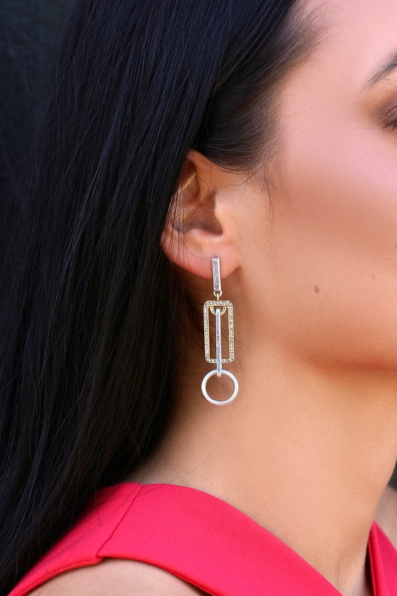 Love Of Light Gold And Silver Rhinestone Earrings by Lulus