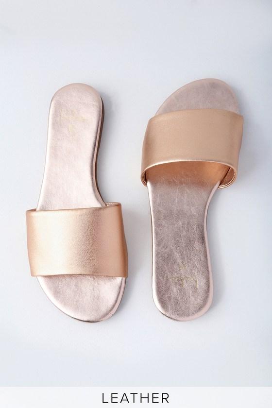 Lulus Tara Nappa Leather Slide Sandal Heels - Lulus