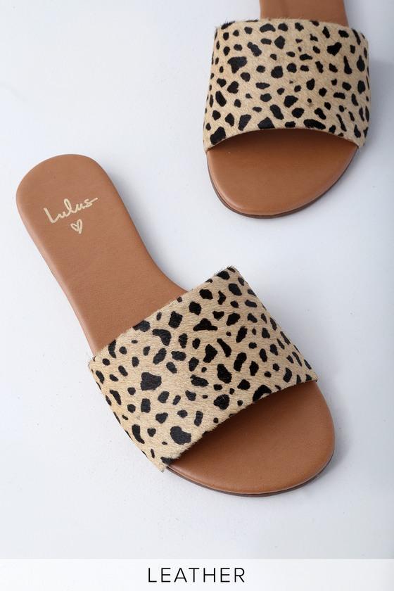 Tara Leopard Calf Hair Leather Slide Sandals by Lulus