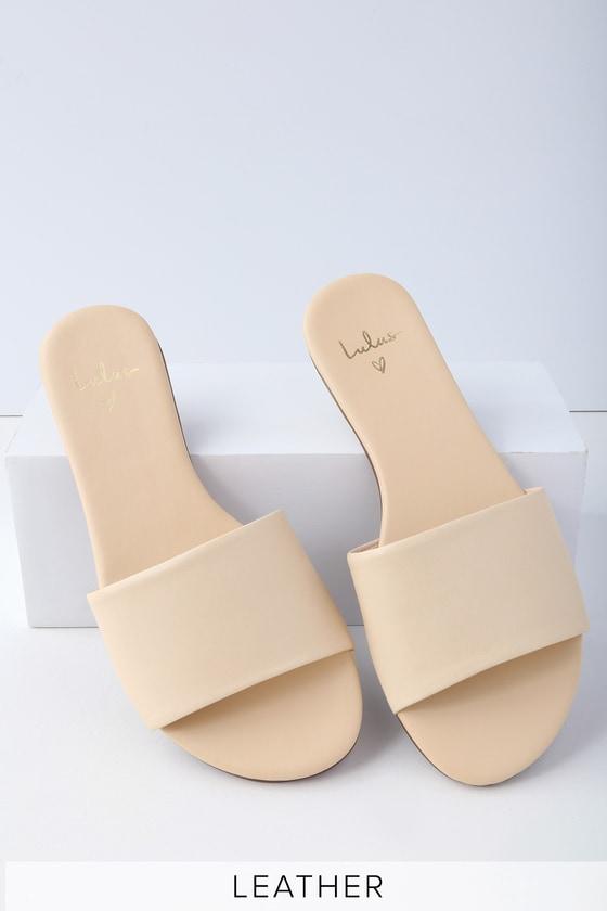 Tara Off White Nappa Leather Slide Sandals