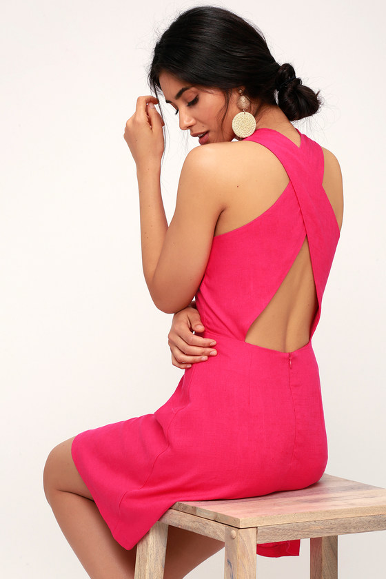 Cardena Fuchsia Button Front Backless Skater Dress