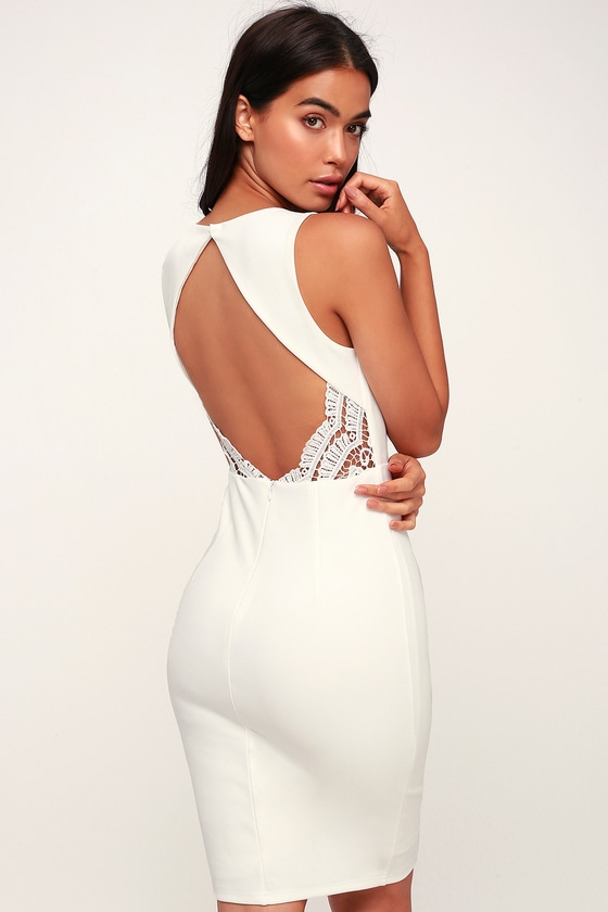37b7ffefd68c Sexy White Dress - Lace Dress - Midi Dress - Bodycon Dress - LWD