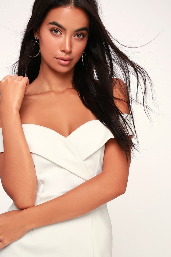 0770598d3a52 Chic White Dress - Off-the-Shoulder Dress - Bodycon Dress