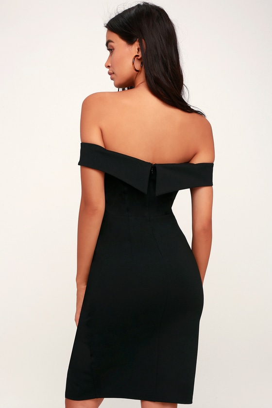 eeb8e322e560 Chic Black Dress - Off-the-Shoulder Dress - Bodycon Dress - LBD