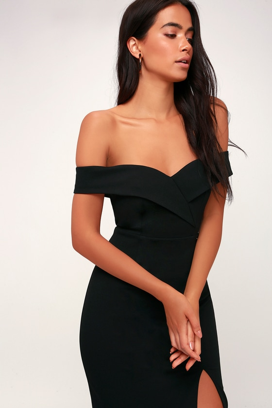 Classic Glam Black Off-the-Shoulder Bodycon Dress
