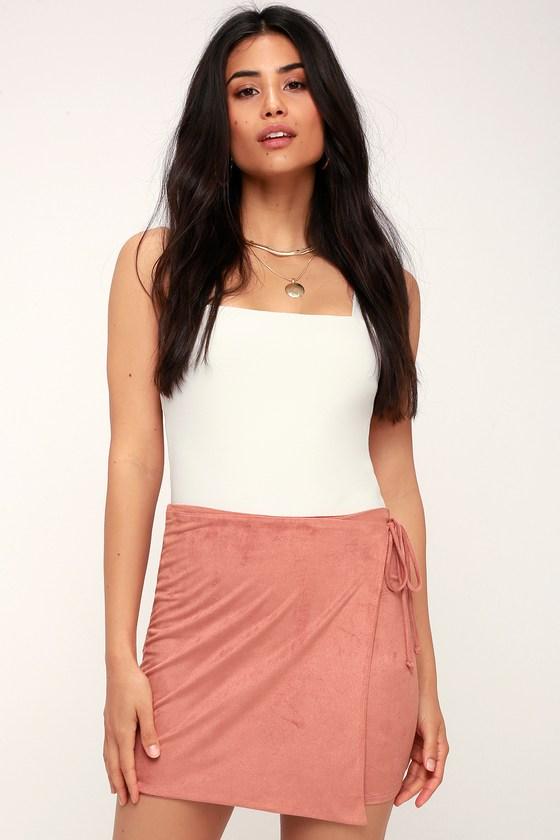 Prue Rusty Rose Suede Wrap Mini Skirt