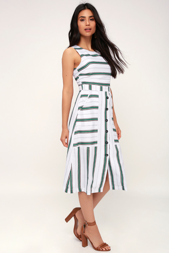 Lolana White And Green Striped Button Front Dress by J.O.A.