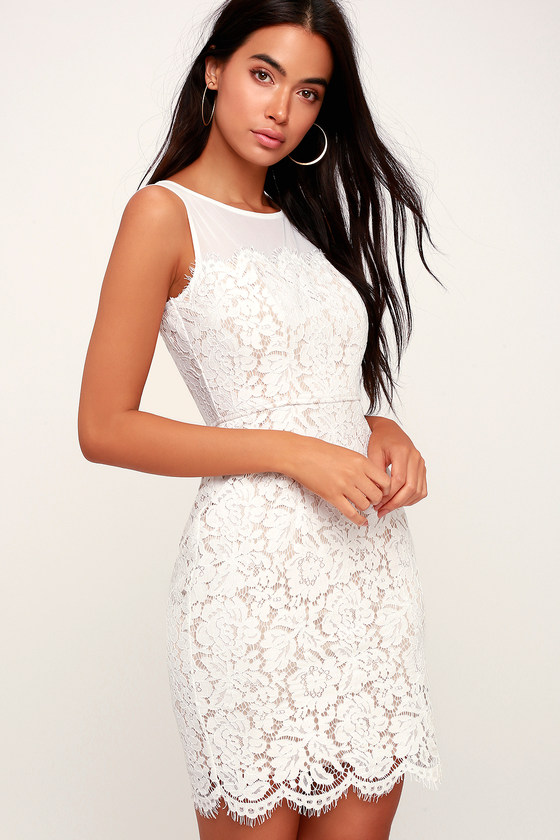 Me and You White Bodycon Lace Dress