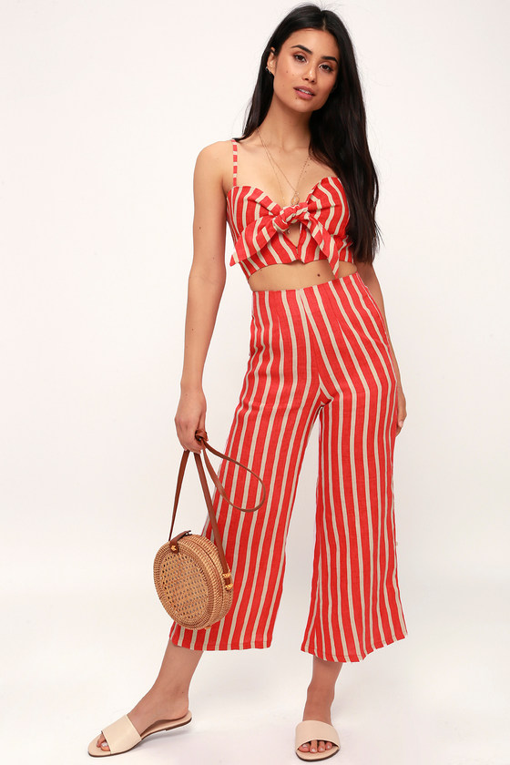 TOMAS CORAL ORANGE STRIPED CULOTTE PANTS FAITHFULL THE BRAND