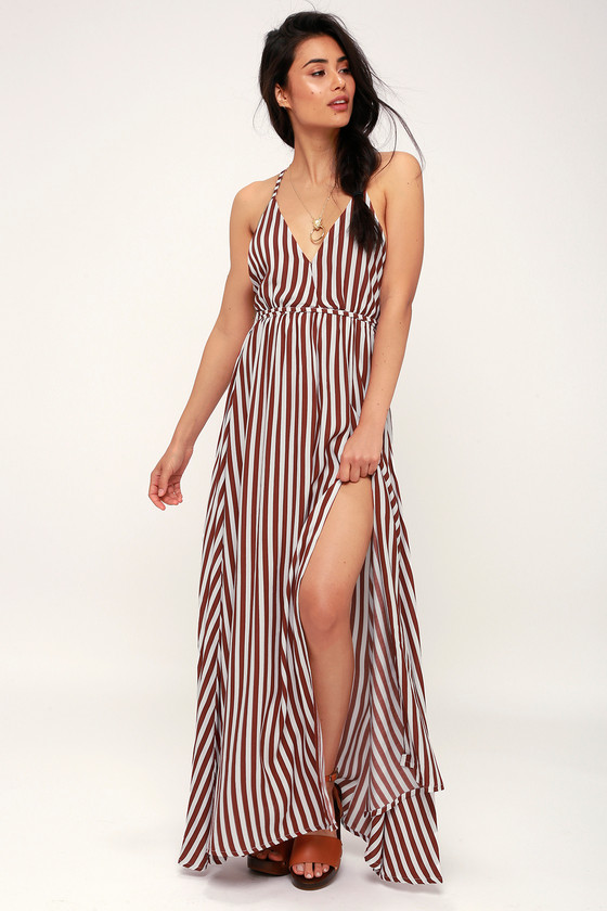 Santa Rosa Burgundy Striped Maxi Dress by Faithfull The Brand