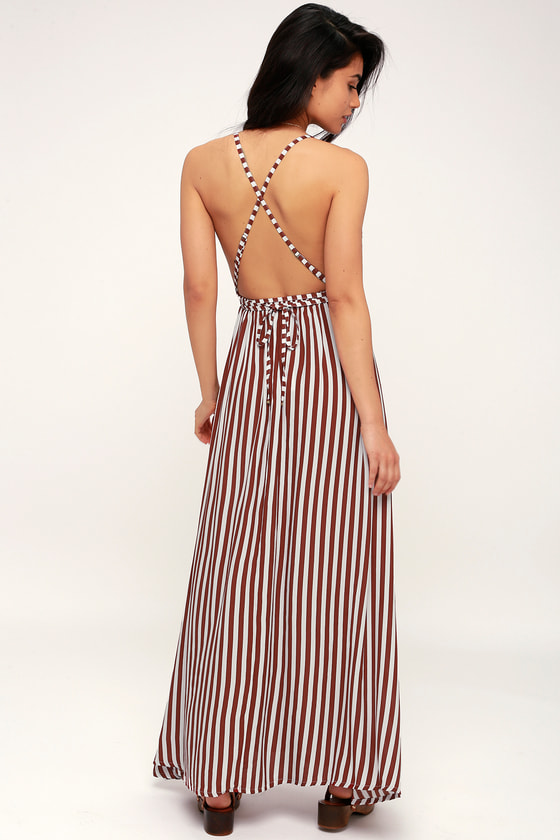 38accacff5 Faithfull the Brand Santa Rosa - Burgundy Striped Maxi Dress