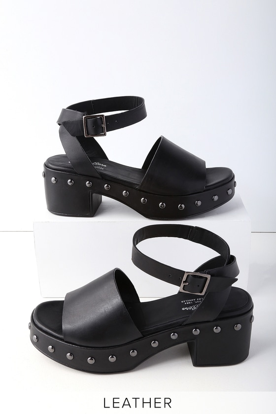 8bf3c04ee9 Seychelles Spare Moments - Black Leather Platform Sandals