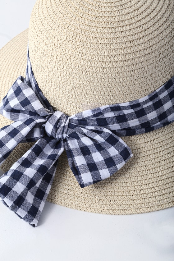 Boat Tour Beige And Gingham Straw Sun Hat by Lulus