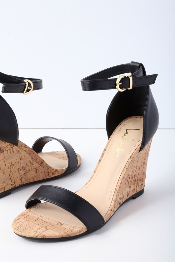 Wylla Black Cork Wedges by Lulus