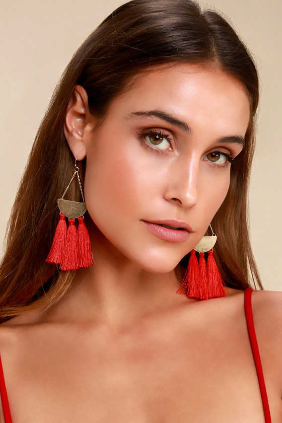 60s -70s Jewelry – Necklaces, Earrings, Rings, Bracelets Arriba Red Tassel Earrings - Lulus $12.00 AT vintagedancer.com