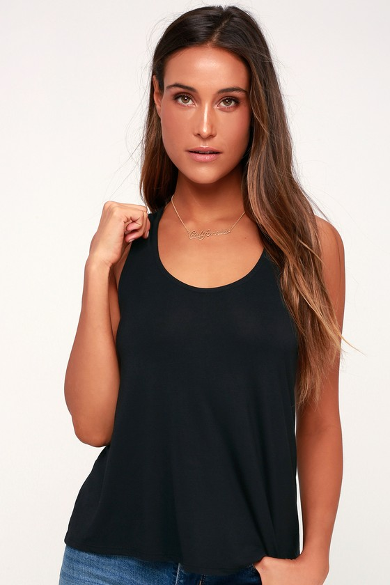 6b42d4aec2061 Cute Lace-Up Tank Top - Black Tank Top - Backless Tank Top