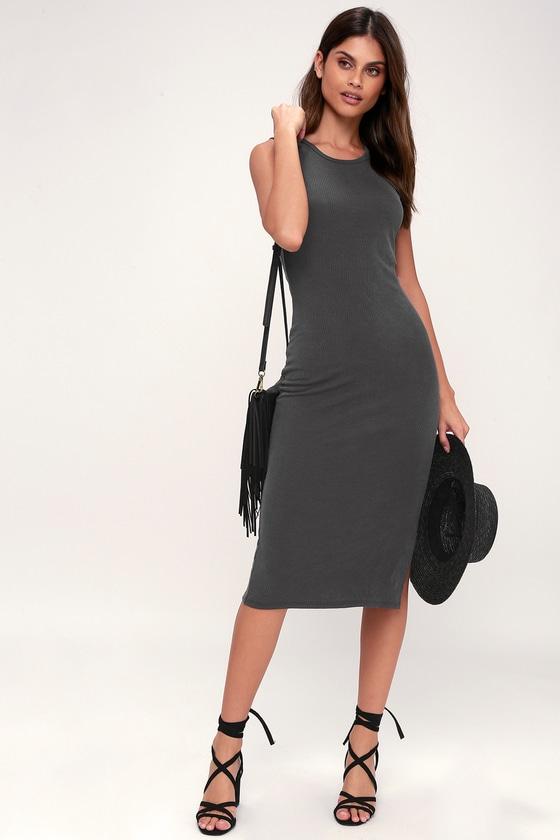 c79c841ae612 Chic Charcoal Grey Dress - Ribbed Knit Dress - Ribbed Midi Dress