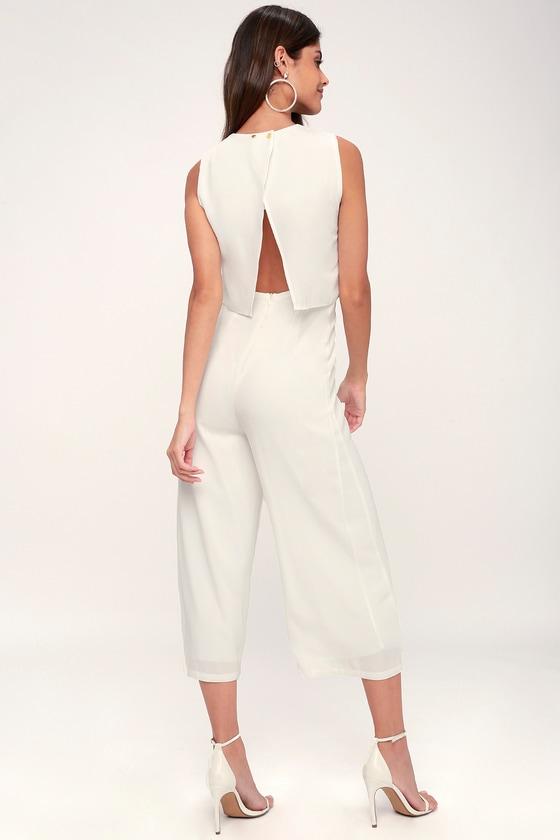 54231f55eff Trendy White Backless Jumpsuit - Culotte Pants White Jumpsuit