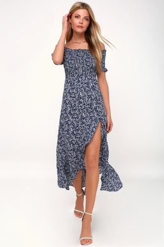 954b028276b38 Fleur-tation Navy Blue Floral Print Off-the-Shoulder Midi Dress