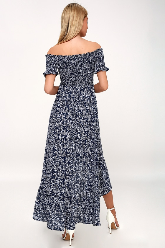 dad593650b753 Navy Blue Floral Print High-Low Dress - Smocked OTS Dress