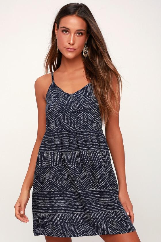 395a1e0c4f RVCA Nolan - Navy Blue Print Dress - Toss-On Dress - Sundress