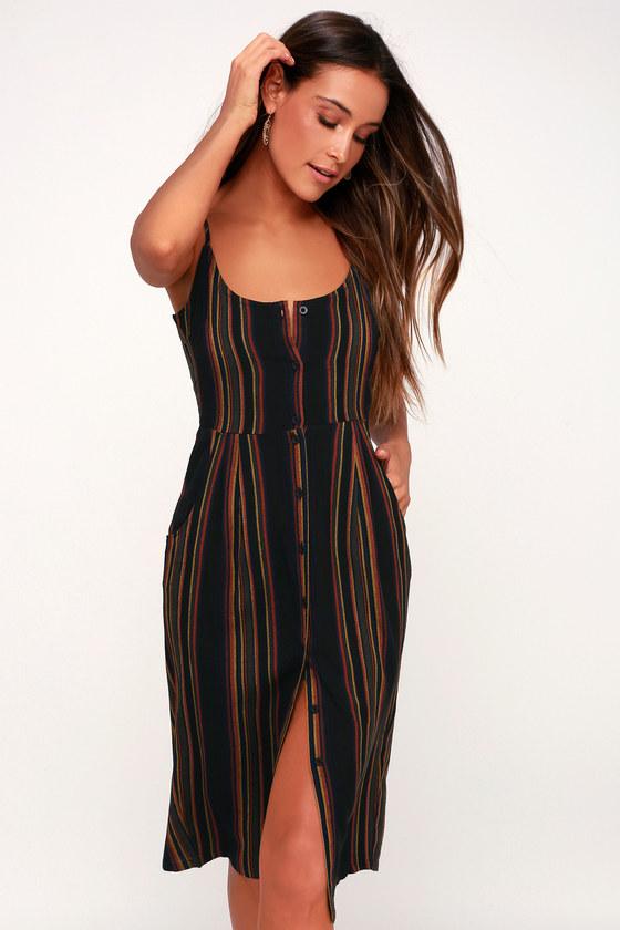 Medway Black Multi Striped Button Up Midi Dress by Rvca