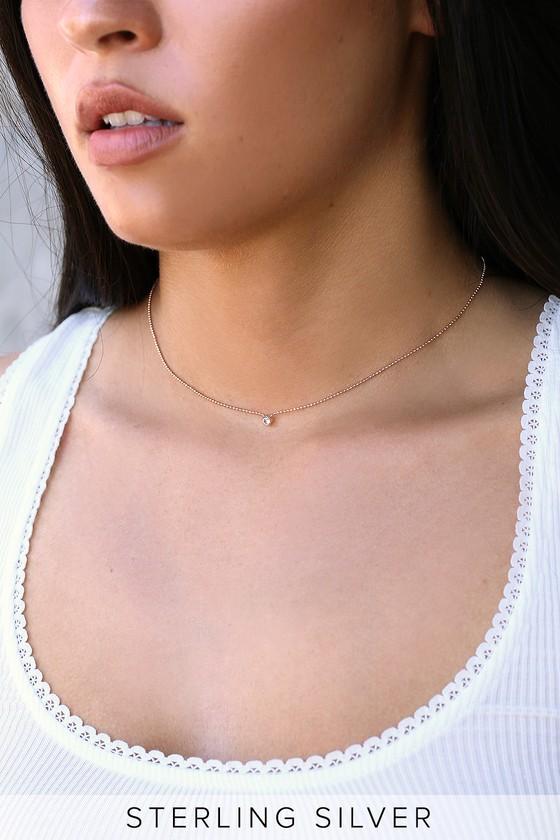 9ea341b727 Lovely Rose Gold Necklace - Rhinestone Choker Necklace