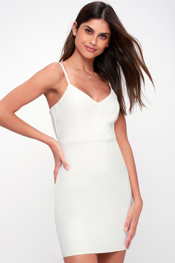 Cocktail Queen White Sleeveless Bodycon Dress