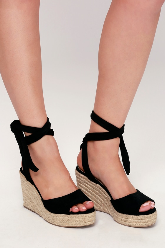 a92c4507b9b Cute Black Espadrilles - Wedge Sandals - Espadrille Sandals