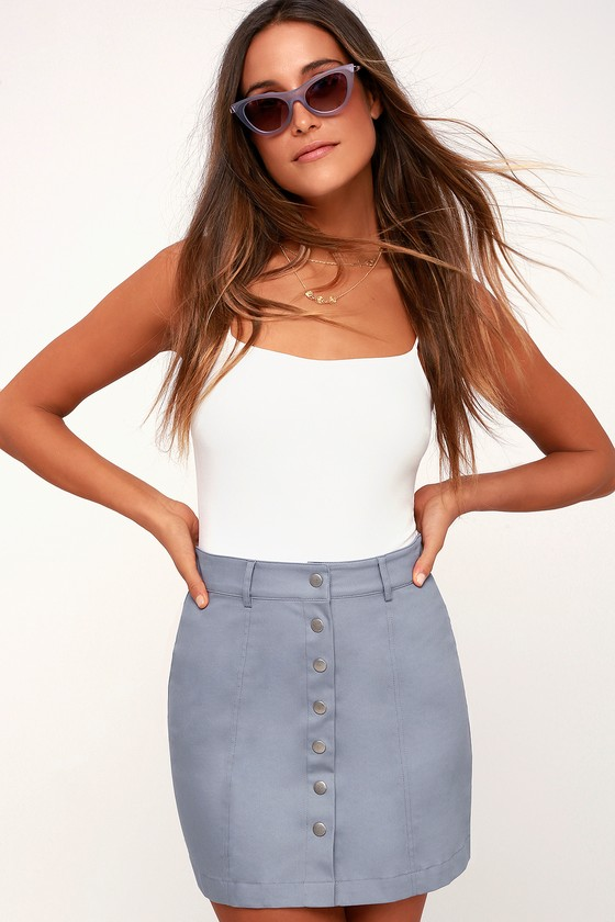 Aires Slate Blue Button Up Mini Skirt by Lulu's