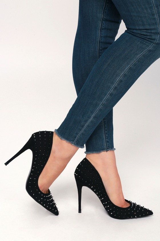 01069124a7f Daisie-S Black Suede Studded Pumps