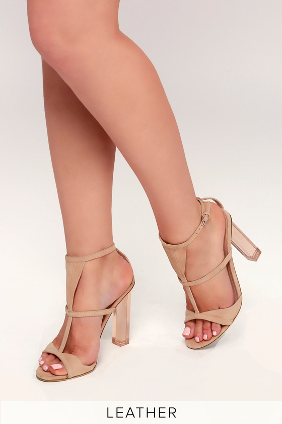 Tony Bianco Kam - Blush Kid Suede Leather Heels - Lucite Heels