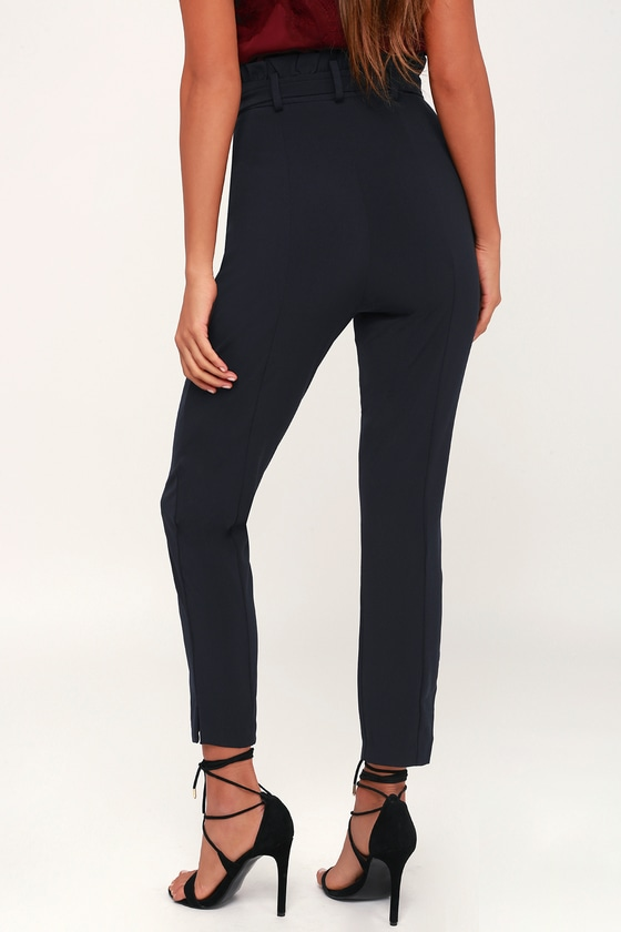 d7015bc9e96 Chic Navy Blue Pants - Paper Bag Waist Pants - Navy Blue Trousers