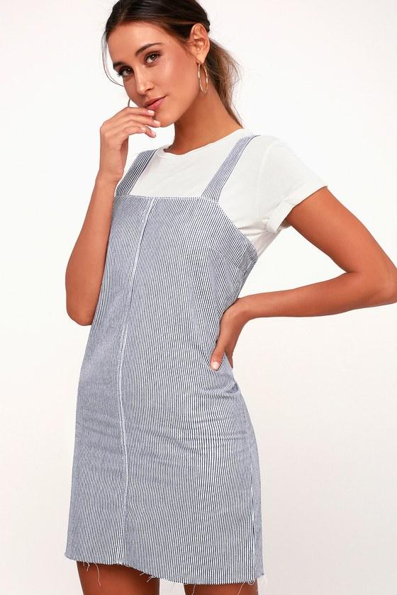 b637ad1083a RVCA Tide Shift - Blue and White Striped Dress - Denim Pinafore