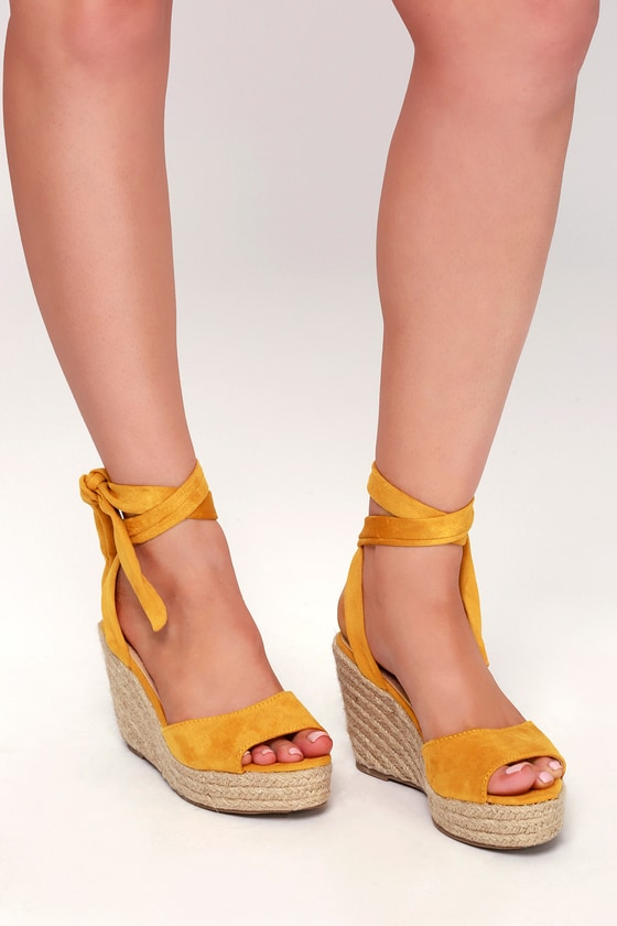 6926004b706 Cute Yellow Espadrilles - Wedge Sandals - Espadrille Sandals