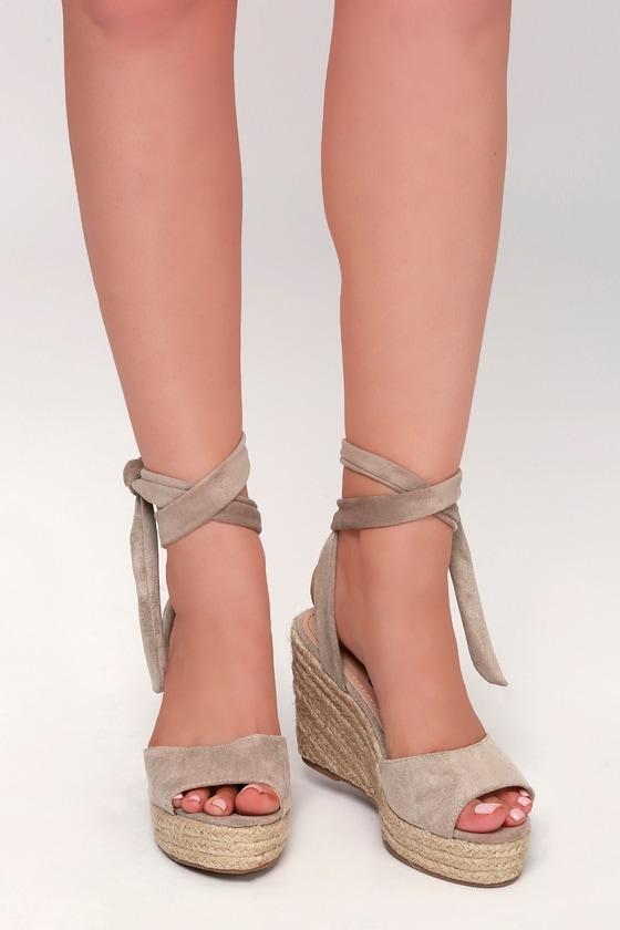 9ed33cccf2c Cute Taupe Espadrilles - Wedge Sandals - Espadrille Sandals