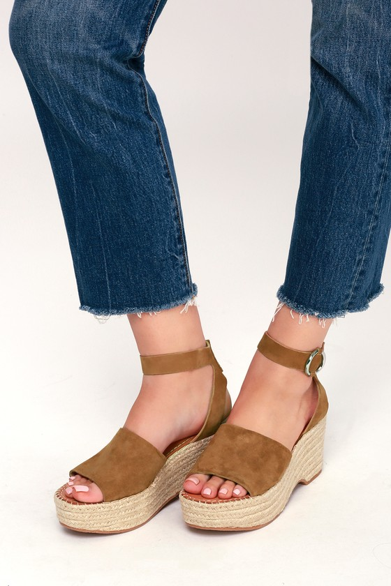 5d06c33a58c Lesly Saddle Brown Suede Leather Espadrille Wedges