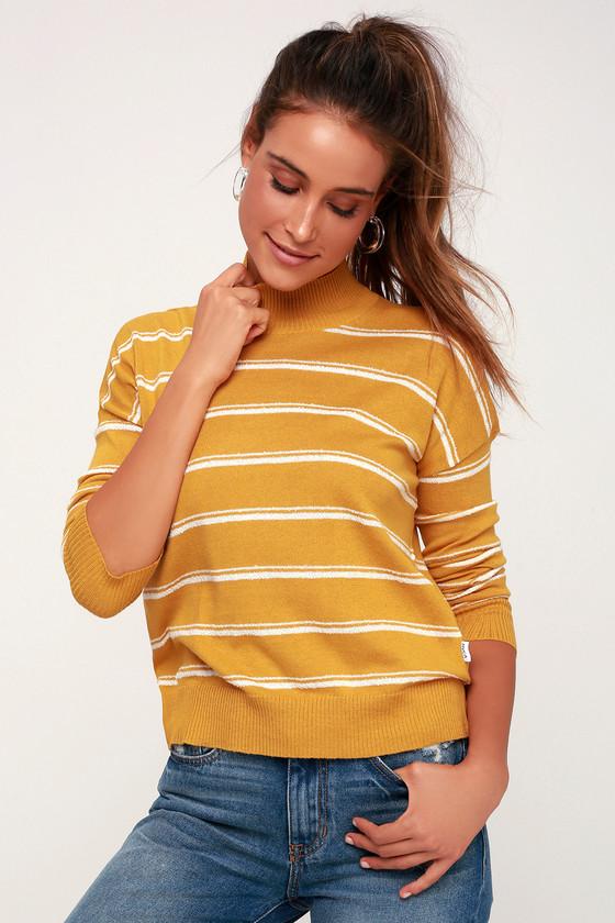 4e588db866a RVCA Armed - Mustard Yellow Striped Sweater - Striped Sweater Top