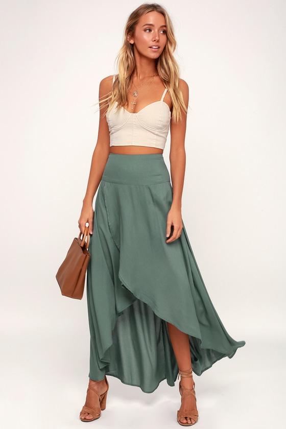 ba155796ec8 Ambrosio Dark Sage Green High-Low Maxi Skirt