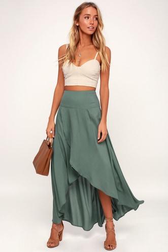 bb15a18337e7 Ambrosio Dark Sage Green High-Low Maxi Skirt