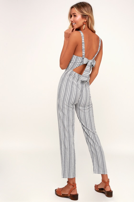 3179f03a98 Amuse Society Lookout - White and Grey Striped Tie-Back Jumpsuit