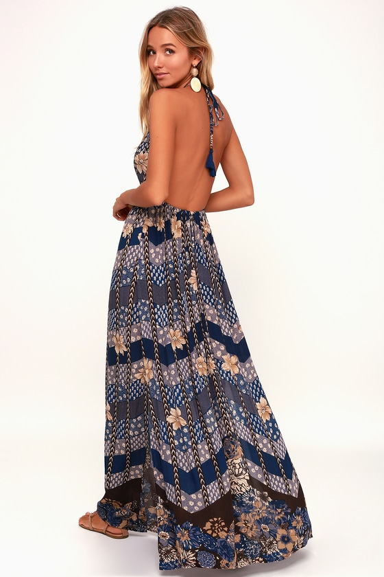 e8f4123a54 O'Neill Annalisa - Boho Dress - Blue Dress - Floral Print Dress