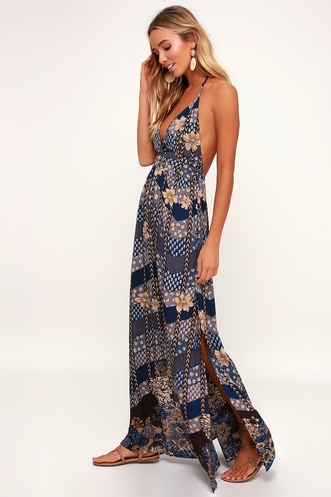 da328891c61 Annalisa Blue Multi Floral Print Halter Maxi Dress