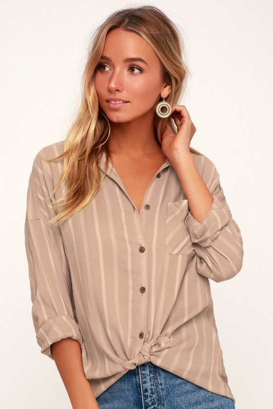 c19b229f091 RVCA Holt - Tie-Front Top - Button-Up Top - Taupe and White Top