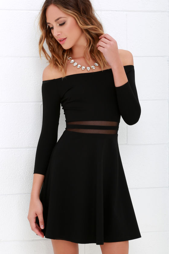 1207297c5715 Cute Black Skater Dress - Mesh Dress - Off-the-Shoulder Dress