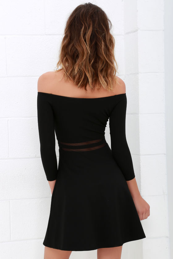 7bfe2f5cc7d5 Cute Black Skater Dress - Mesh Dress - Off-the-Shoulder Dress