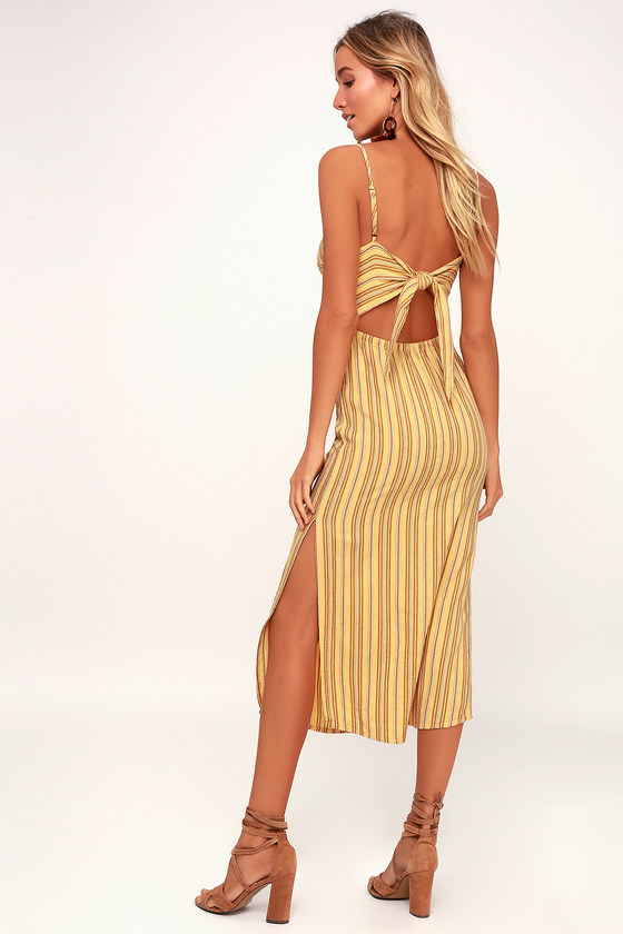 e1a450733fa Amuse Society White Sands - Yellow Striped Midi Dress