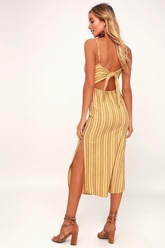 c045e306fb White Sands Yellow Striped Tie-Back Midi Dress